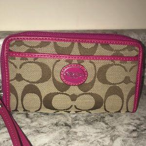 Pink Coach Wristlet/Wallet